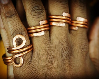 Copper Band Textured Spiral Rings