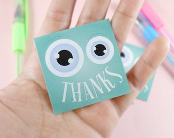 10 Stickers! Monster Party, Thank you sticker, party favors, funny design, birthday party, Set of 10
