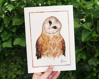 """Watercolor Art Print Barn Owl """"Tyler"""" • 18 x 24 cm • Poster with an illustration of an owl"""