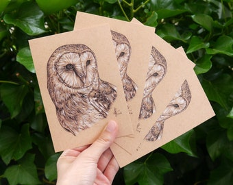 """Four barn owls Postcards """"Rico"""" • DIN A6 • Postcard set with drawing of a barn owl"""