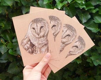 "Four barn owls Postcards ""Kody"" • DIN A6 • Postcard set with drawing of a barn owl"