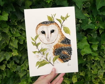Watercolor Art Print Barn Owl • 18 x 24 cm • Spring-like poster with illustration of an owl with leaves and flowers