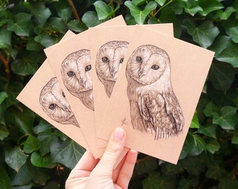"""Four barn owls Postcards """"Colina"""" • DIN A6 • Postcard set with drawing of a barn owl"""