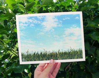 Watercolor Art Print Sky and Field • 24 x 18 cm • Poster • Nature • Illustration • Print • Grass • Sky • Landscape
