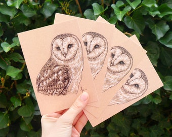 """Four barn owls Postcards """"Mia"""" • DIN A6 • Postcard set with drawing of a barn owl"""