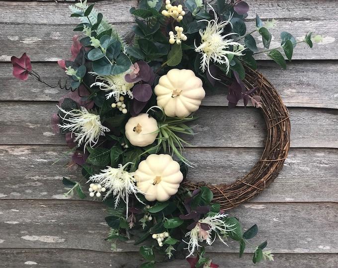 LAST ONE - Gold tipped ivory pumpkin eucalyptus cresent wreath