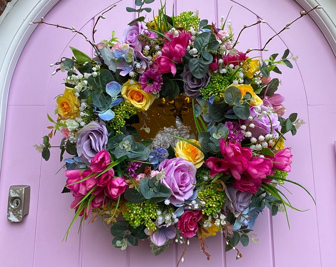 Gorgeous Spring faux flower wreath