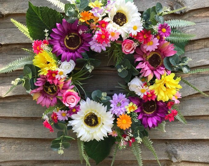 Purple pink and white sunflower wreath