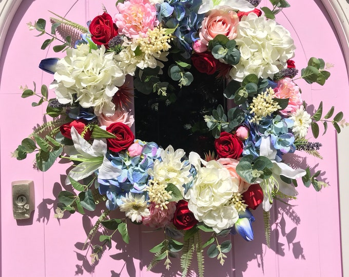 Red white and blue summer wreath