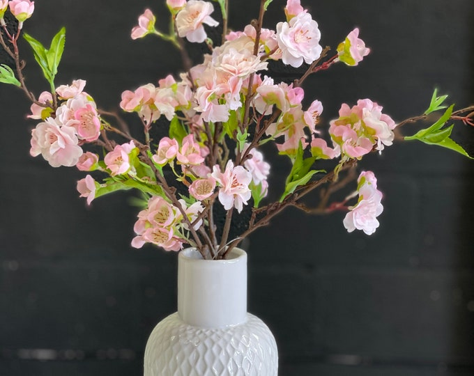 Ready to send -  Beautiful Pink or White Faux cherry blossom set into vase (choose from assorted varieties)