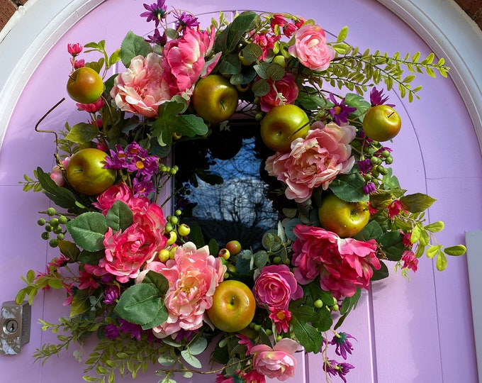 Green Apple and Peony Faux Wreath