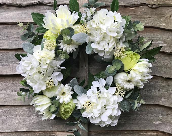 Summer Hydrangea and peony wreath