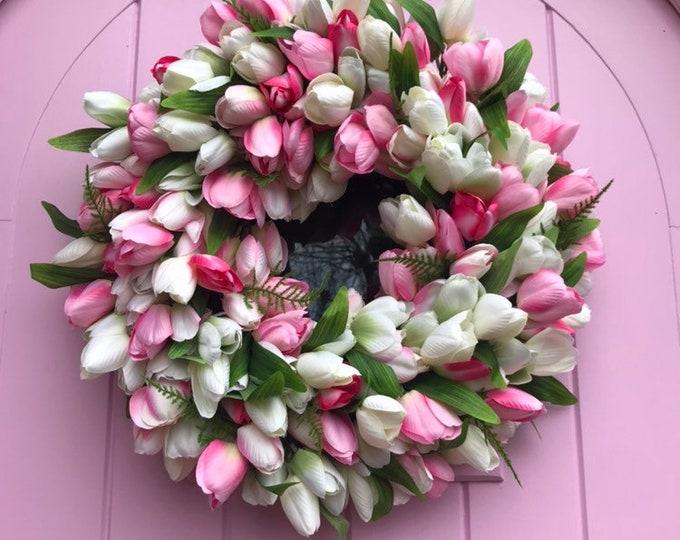 Spring tulip wreath - pinks