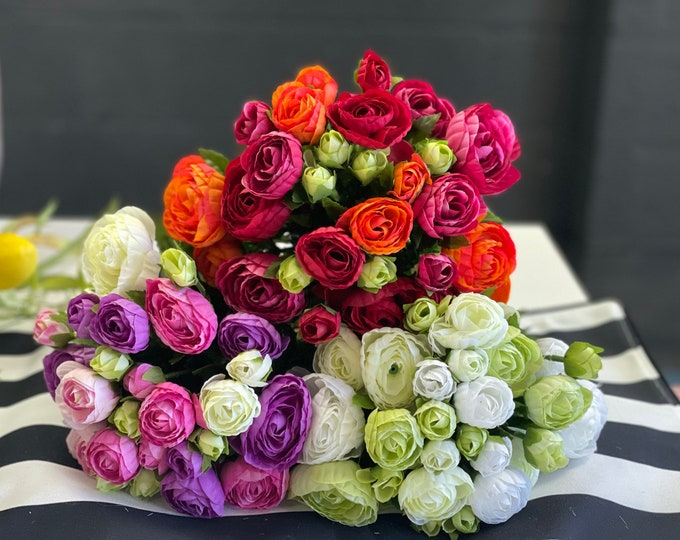 33cm Beautiful faux Ranunculus bundle - 3 assorted colours to choose from