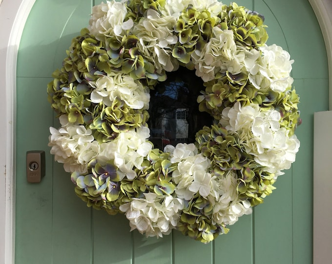 Extra large Green and White Hydrangea Spring Door Wreath