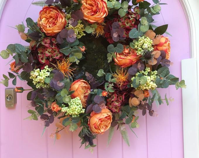 Beautiful Peony, eucalyptus and hydrangea door wreath
