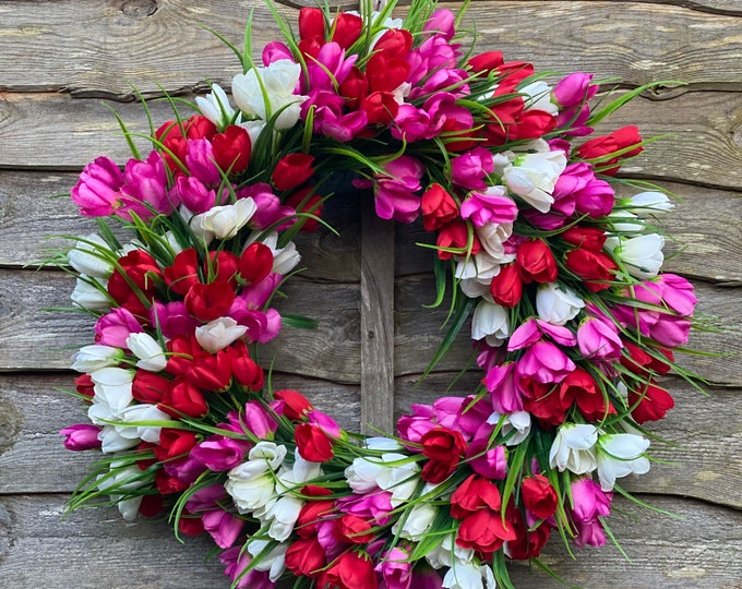 Large faux tulip spring wreath