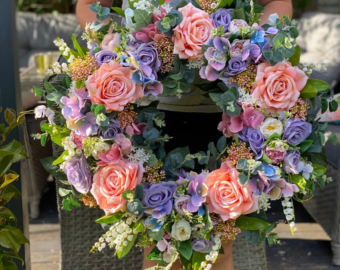 Gorgeous Peachy Faux Spring/ Summer Wreath