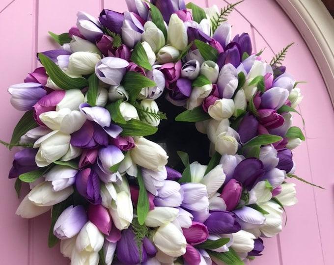 Spring tulip wreath - pretty purples