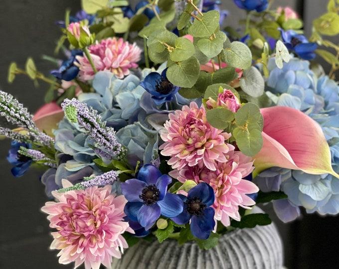 61cm Luxury Large faux floral arrangement set into heavy globe vase