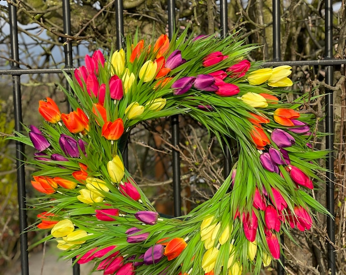 Large spring faux tulip wreath - three different colours