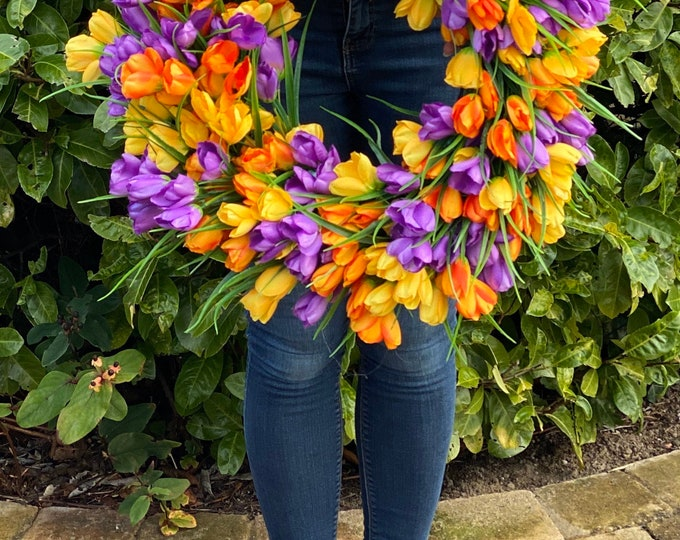 Large Spring Faux Tulip Wreath