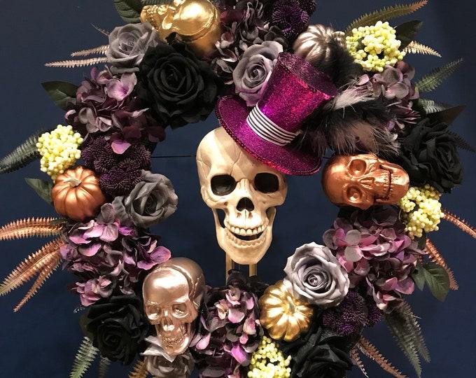 """Halloween """"Colin"""" skull door wreath"""
