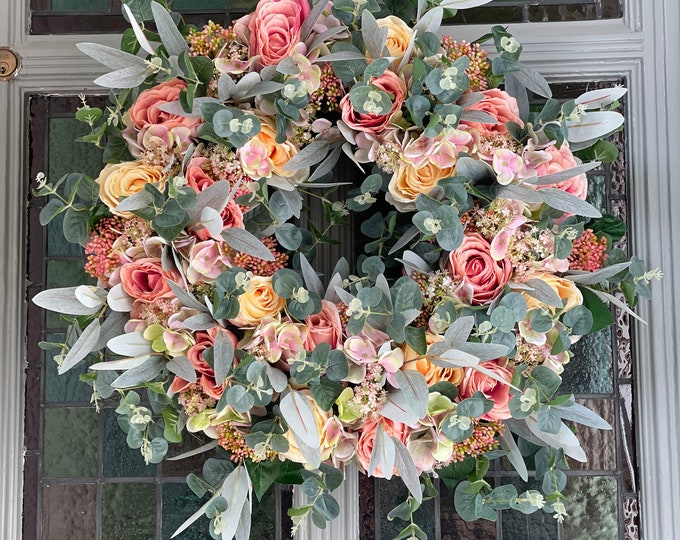 READY TO SEND - Vintage pink rose wreath