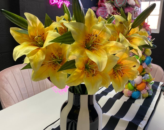 Faux Yellow Lily Spray