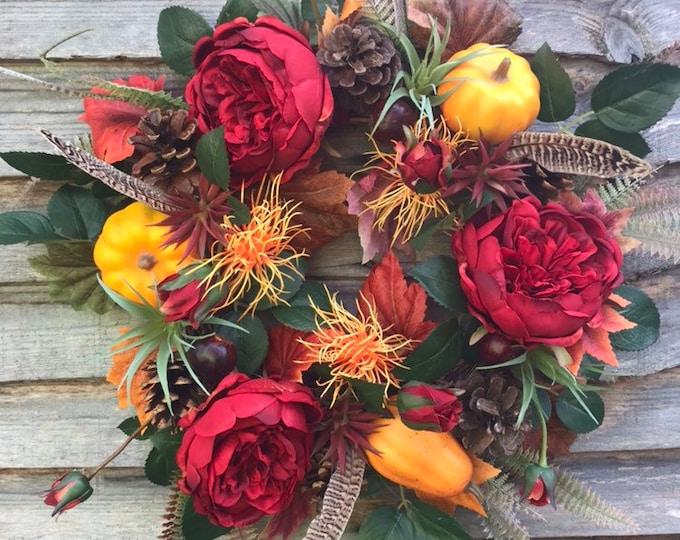 Peony and conker wreath