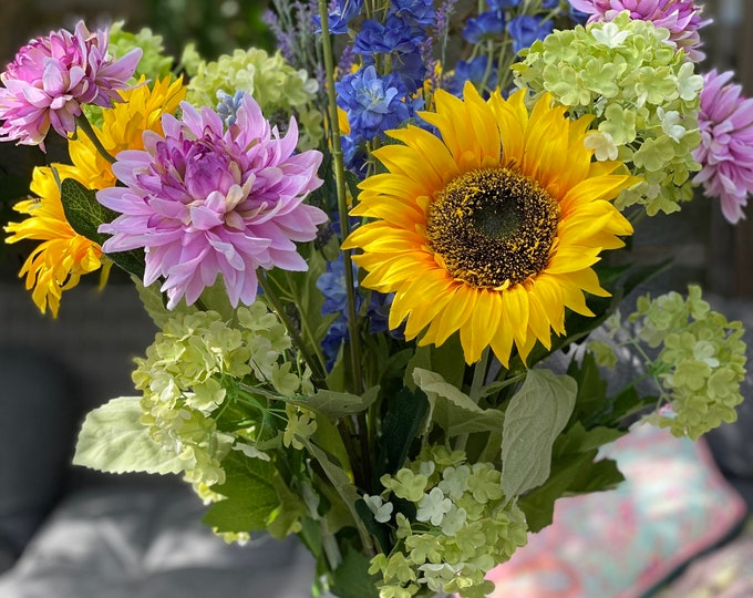 Ready to send - Beautiful faux sunny sunflower summer arrangement set into glass vase