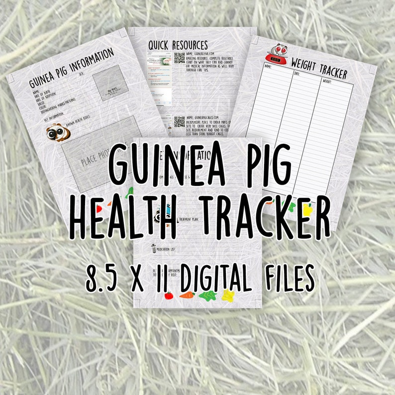 Guinea Pig Weight and Health Tracker Digital Download image 0