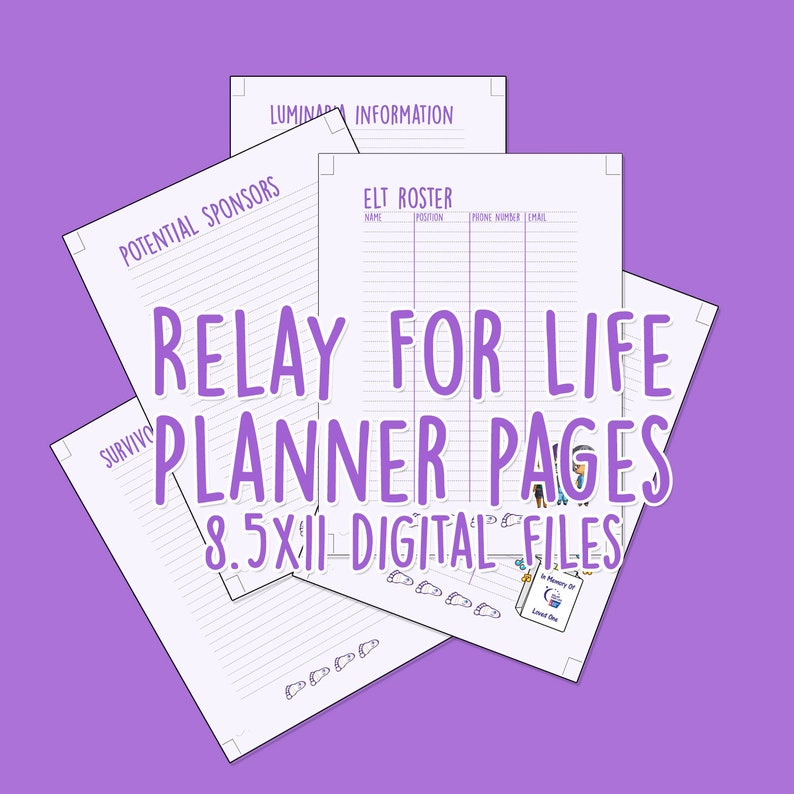 Relay For Life 85 x 11 planner pages image 1