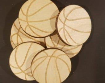 10 Laser Cut Wood Basketballs, Custom Laser Engraved Basketballs