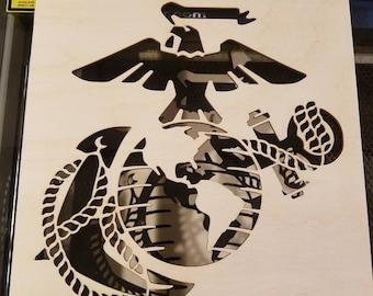 Marines Stencil, Spray Paint Stencil, Marines Logo