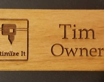 Wood Name Tag, Laser Engraved Magnetic Name Tag