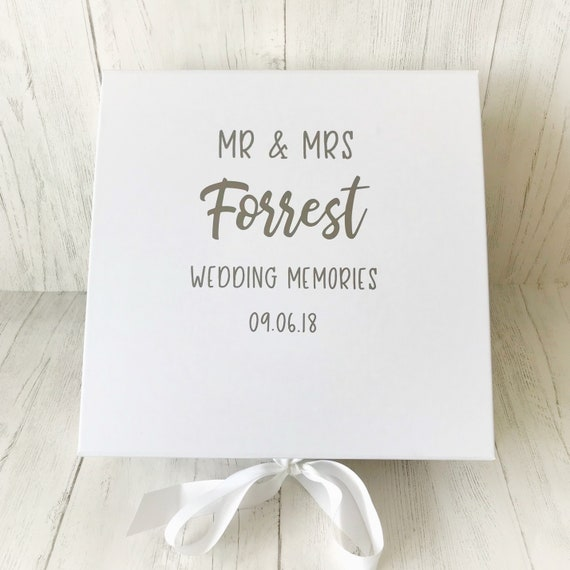 Personalised Wedding Memory Box With Silver Lettering Etsy