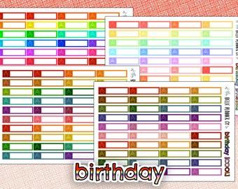Rainbow Birthday Label Planner Stickers