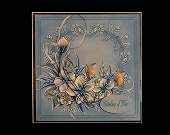 Handmade Blue Floral Butterfly Thinking of You With Sympathy Condolences Bereavement All Occasion Greeting Card