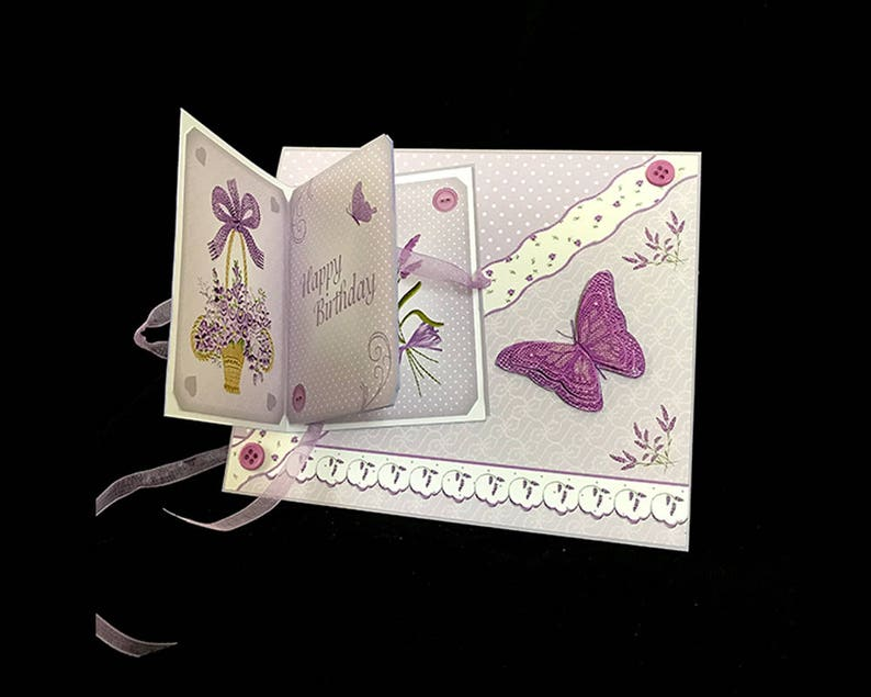 Handmade Card Elegant Lilacs and Butterflies Floral  Birthday Greeting Card for Mother Women Friend