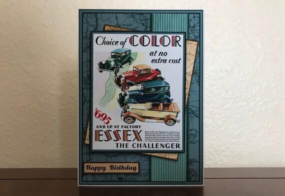 Handmade Birthday Card For Men Dad Vintage Car Ad Automobile Etsy