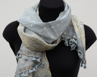 Cotton Scarf - Blue Ivory