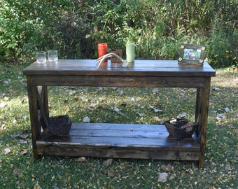Sofa/Entry Table Farmhouse sofa/entry way table custom built rustic table/rustic furniture/tv stand/entertainment stand/