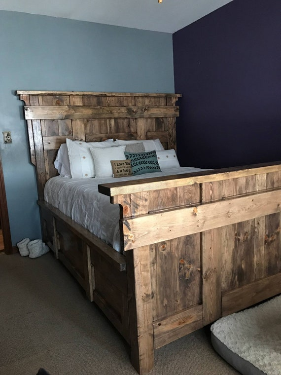 Custom Farmhouse style bed / rustic bedroom furniture / shabby chic bed