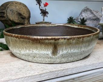 "Round Bonsai Pot - Coffee and Cream  9.25"" x 2.2"""