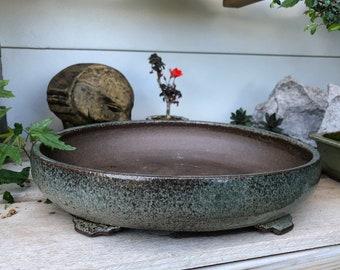 "Oval Bonsai Pot - 11.5"" x 9.75"" x 3"" - Jade Nephrite"