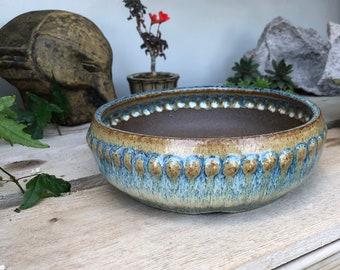 "Dimpled Round Bonsai Pot - 7.5"" x 2.25"" Namako Blues"