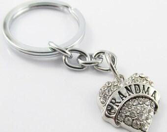Rhinestone Nana Heart Charm Keychain Keyring 76mm