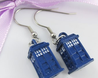 Dr Who Inspired 3D Police Box Tardis Charm Earrings 39mm Stainless Steel Hooks