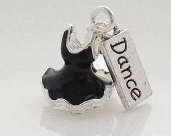 Black 3D Ballet Tutu and Dance Tag Charm fit European Charm Bracelet